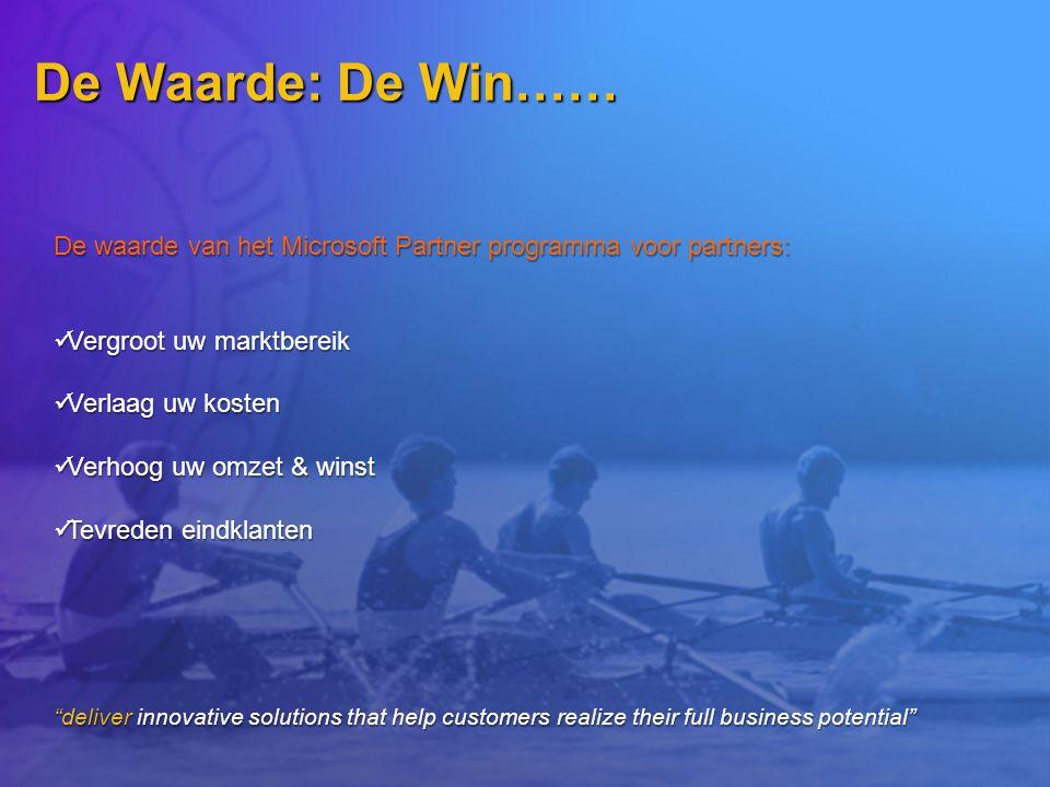 De Waarde: De Win…… De waarde van het Microsoft Partner programma voor partners: Vergroot uw marktbereik.