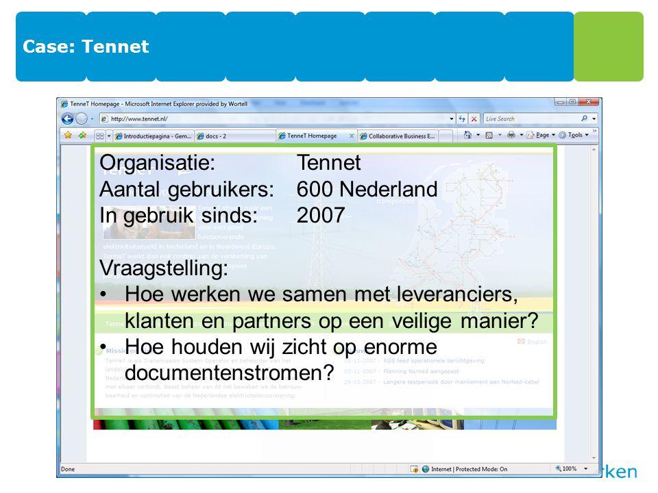 Aantal gebruikers: 600 Nederland In gebruik sinds: 2007 Vraagstelling: