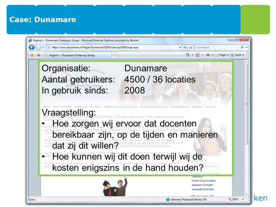 Organisatie: Dunamare Aantal gebruikers: 4500 / 36 locaties