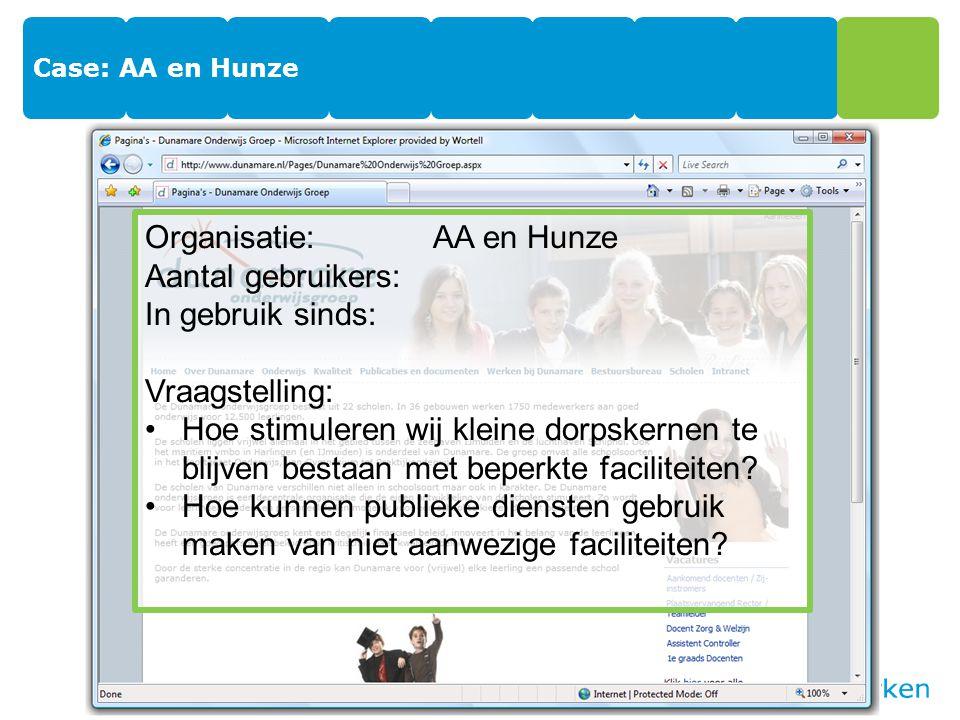 Organisatie: AA en Hunze Aantal gebruikers: In gebruik sinds: