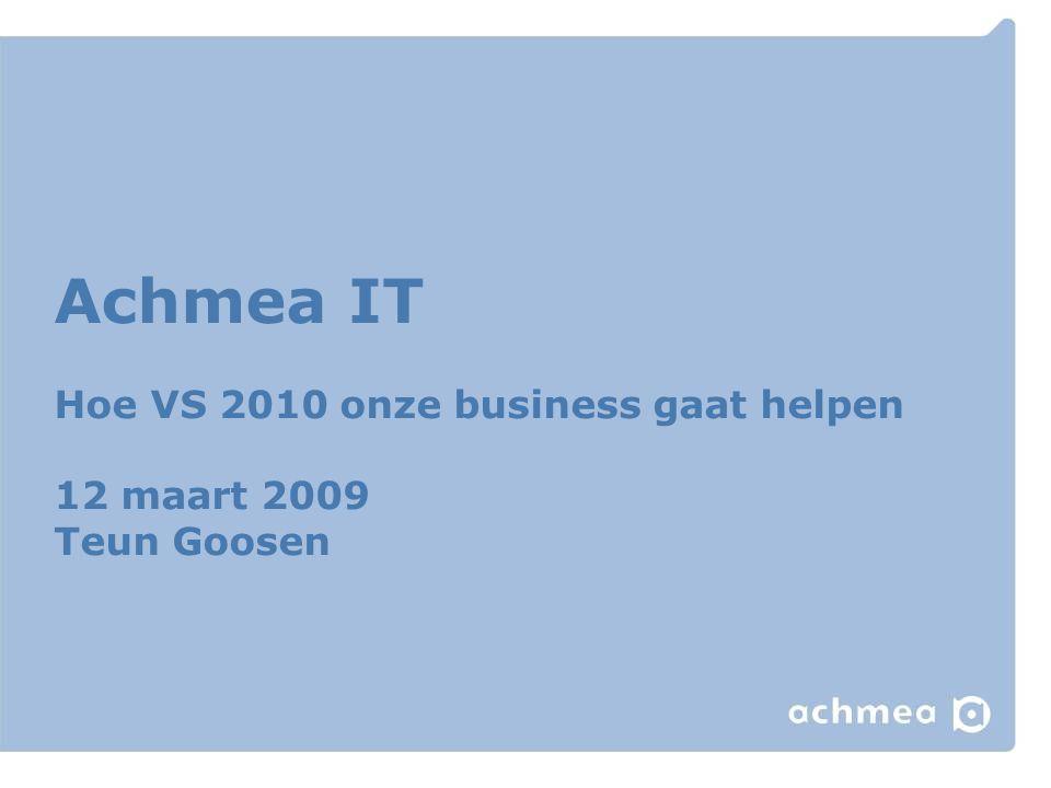 Achmea IT Hoe VS 2010 onze business gaat helpen 12 maart 2009 Teun Goosen