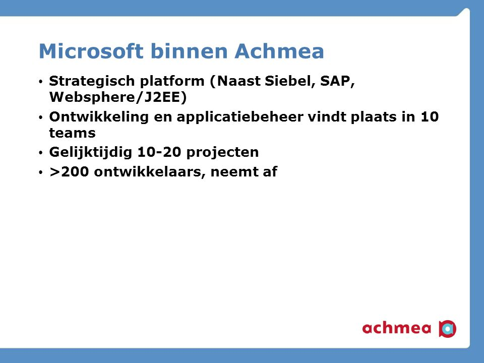Microsoft binnen Achmea