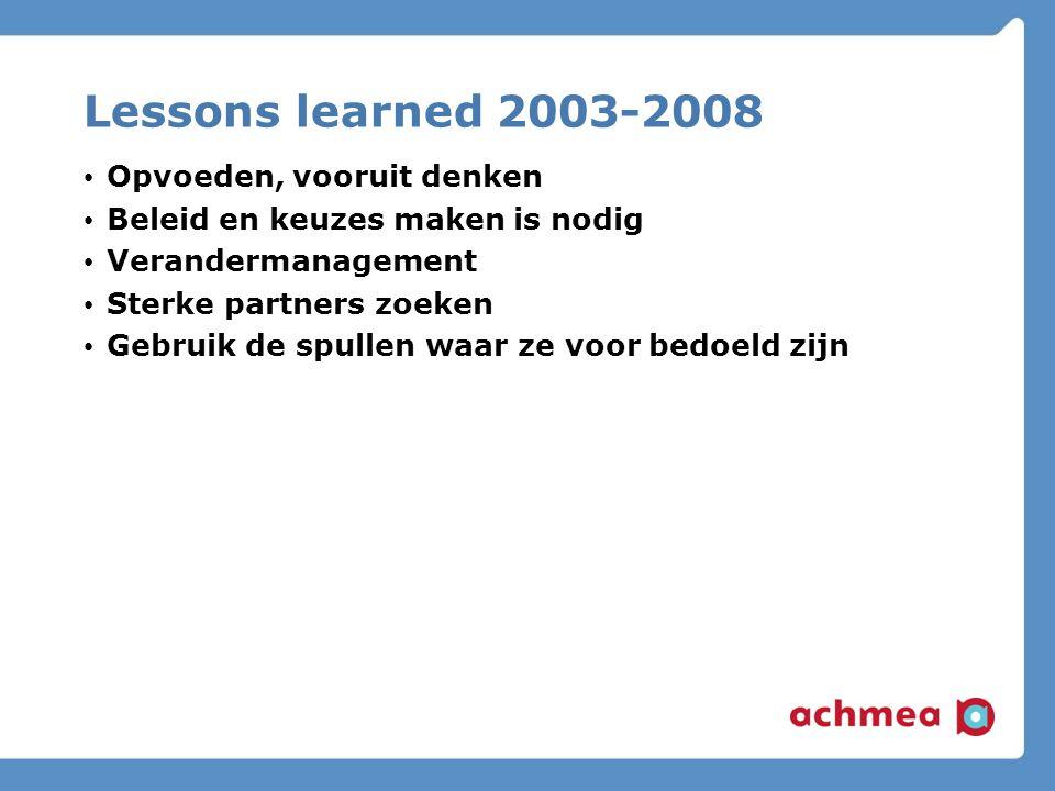 Lessons learned 2003-2008 Opvoeden, vooruit denken