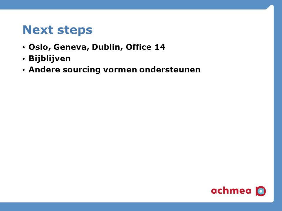 Next steps Oslo, Geneva, Dublin, Office 14 Bijblijven