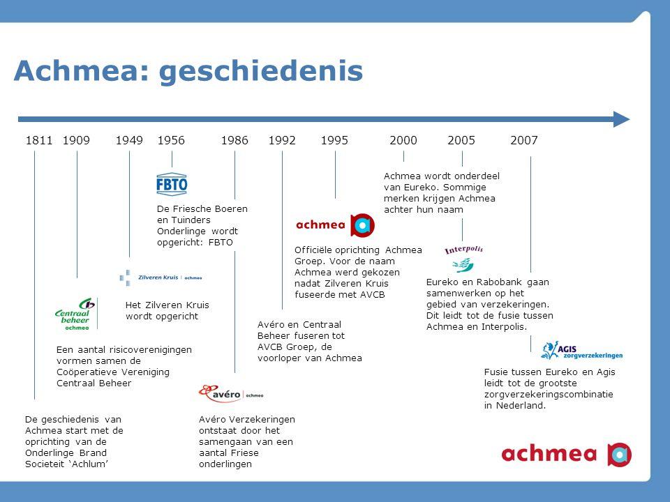 Achmea: geschiedenis 1811. De geschiedenis van Achmea start met de oprichting van de Onderlinge Brand Societeit 'Achlum'