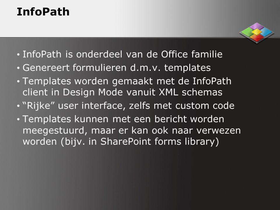 InfoPath InfoPath is onderdeel van de Office familie