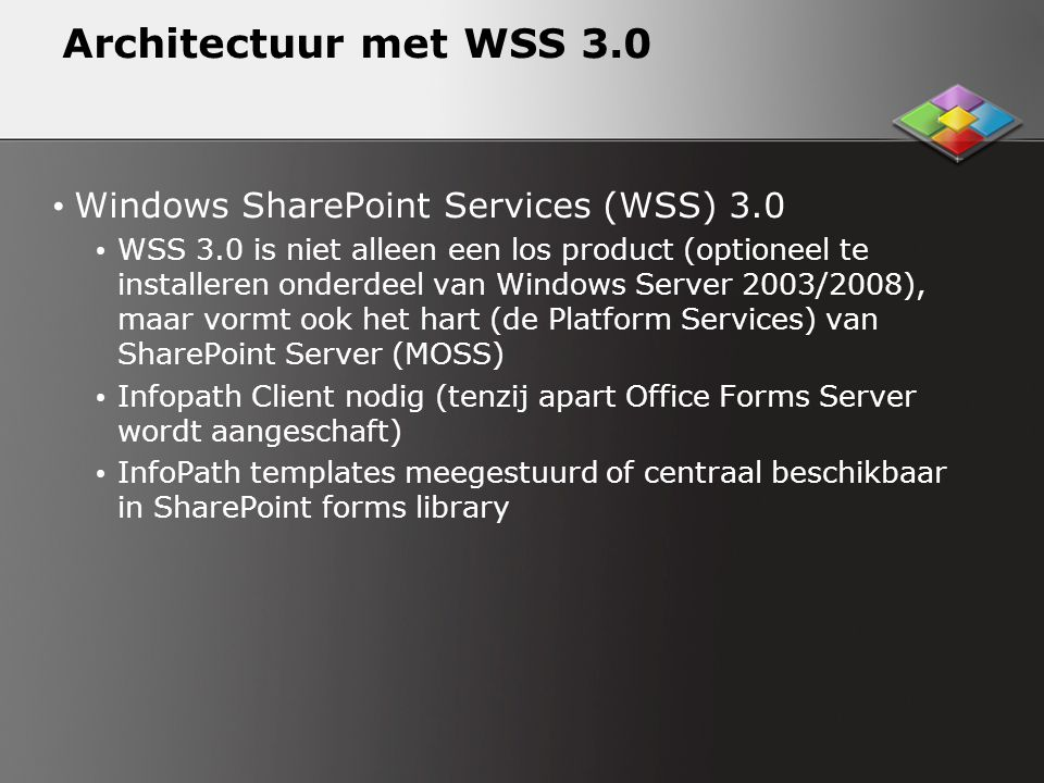 Architectuur met WSS 3.0 Windows SharePoint Services (WSS) 3.0