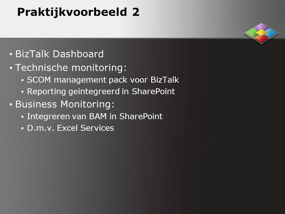Praktijkvoorbeeld 2 BizTalk Dashboard Technische monitoring: