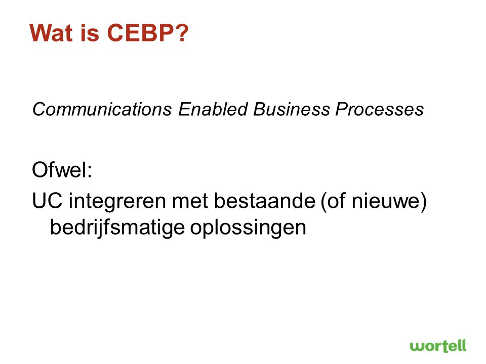 Wat is CEBP. Communications Enabled Business Processes.
