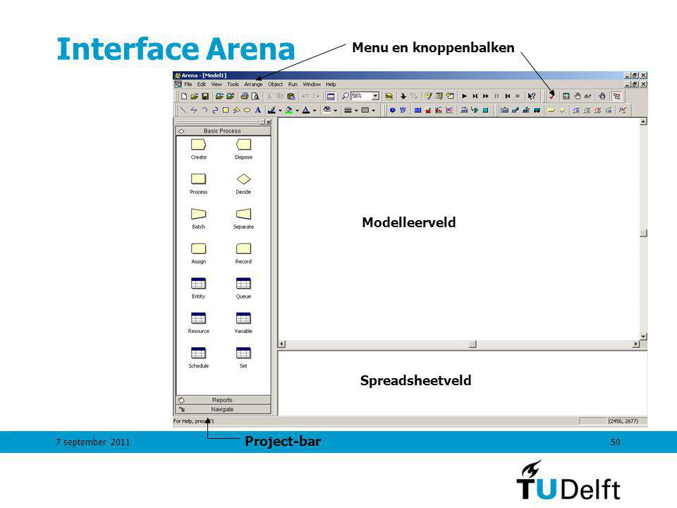 Interface Arena Menu en knoppenbalken Modelleerveld Spreadsheetveld