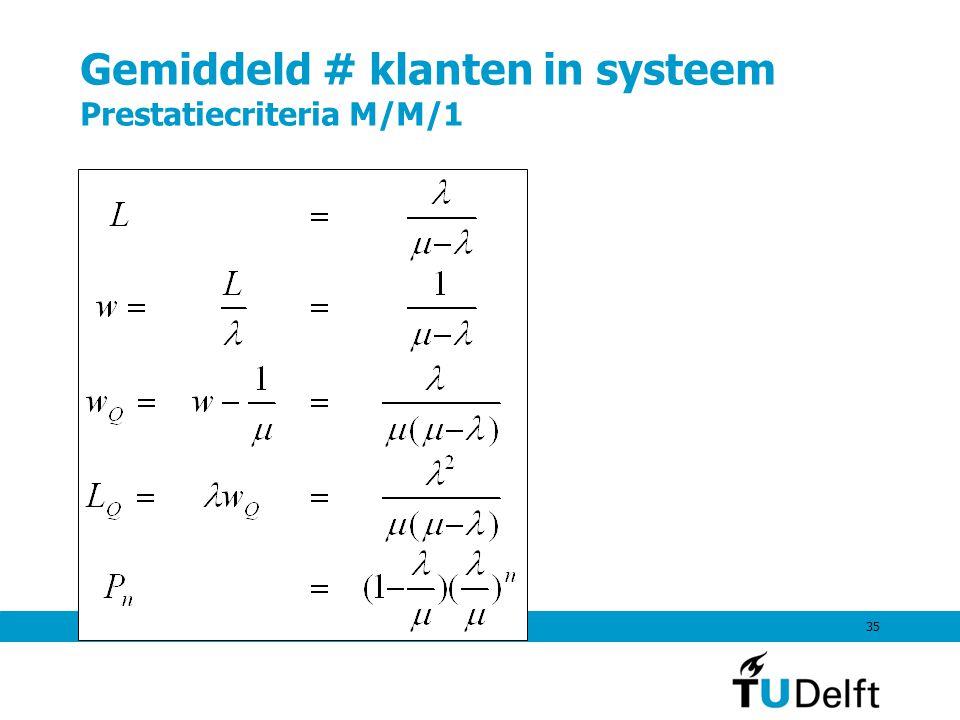 Gemiddeld # klanten in systeem Prestatiecriteria M/M/1