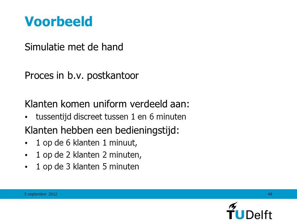 Voorbeeld Simulatie met de hand Proces in b.v. postkantoor