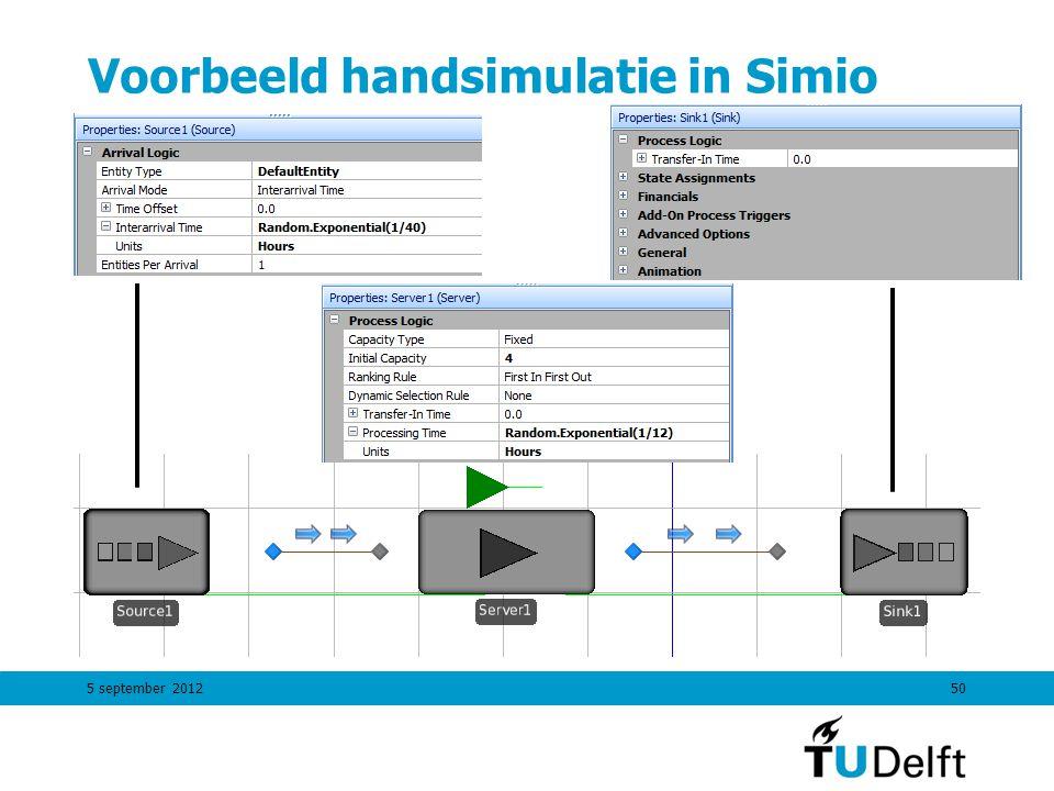 Voorbeeld handsimulatie in Simio