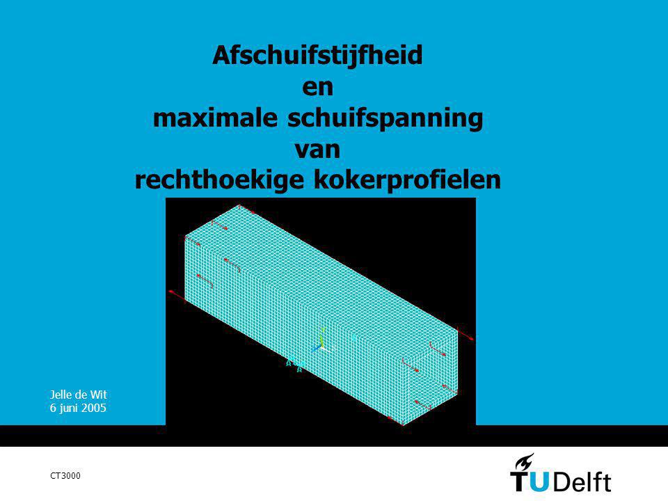 Afschuifstijfheid en maximale schuifspanning van rechthoekige kokerprofielen