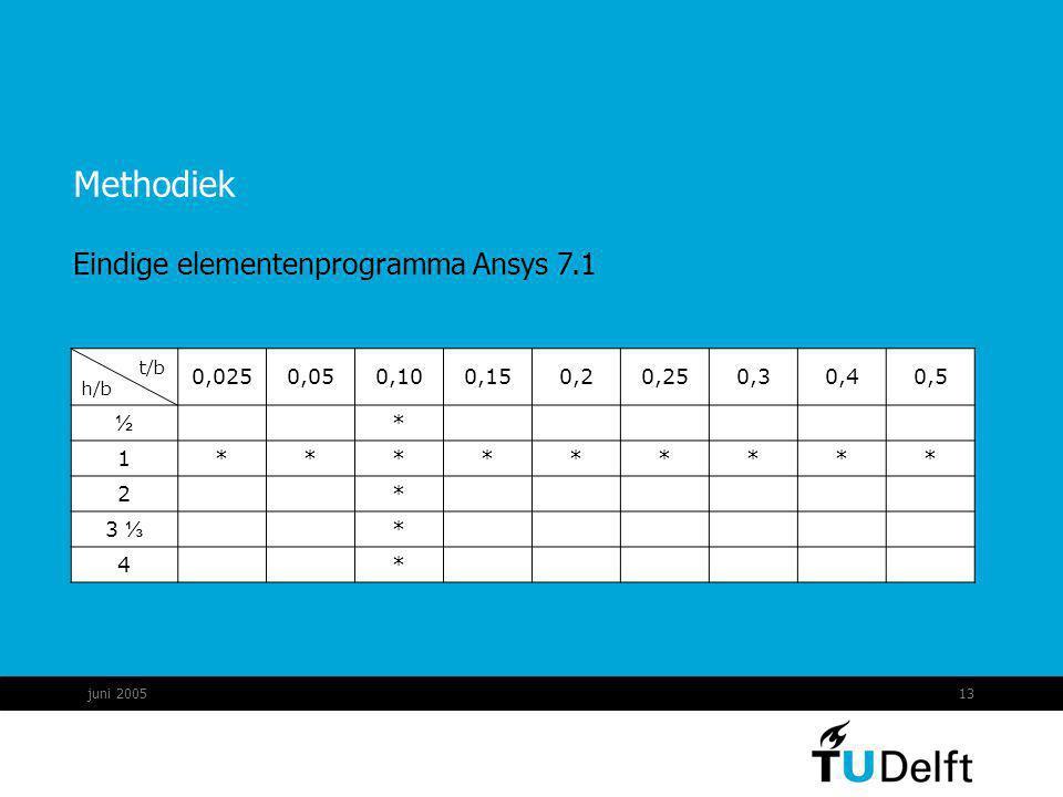 Methodiek Eindige elementenprogramma Ansys 7.1 t/b 0,025 0,05 0,10