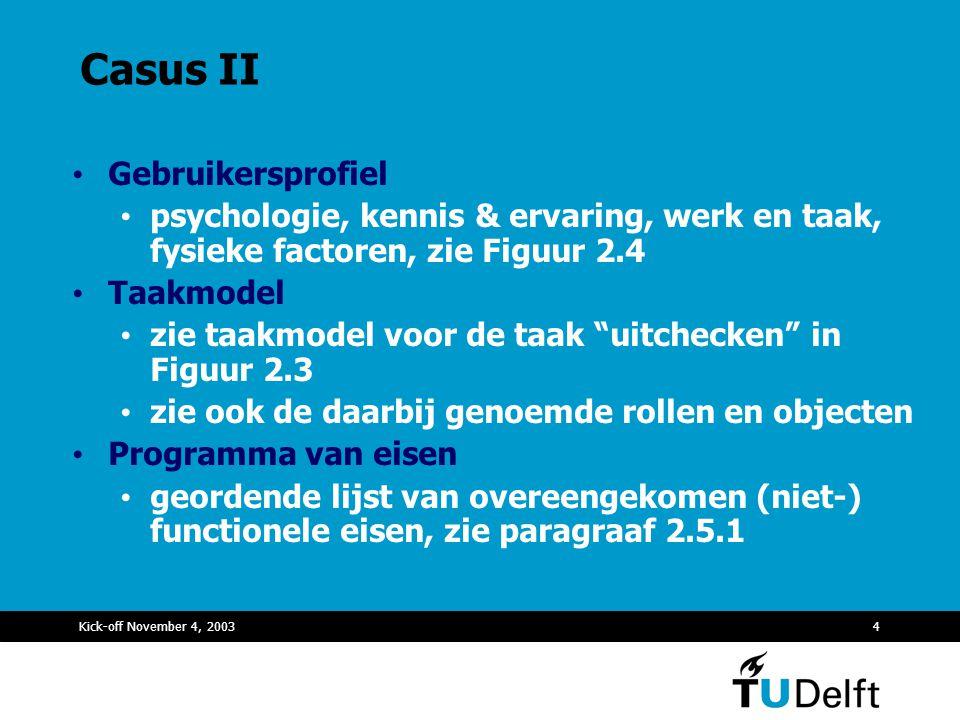 Casus II Gebruikersprofiel