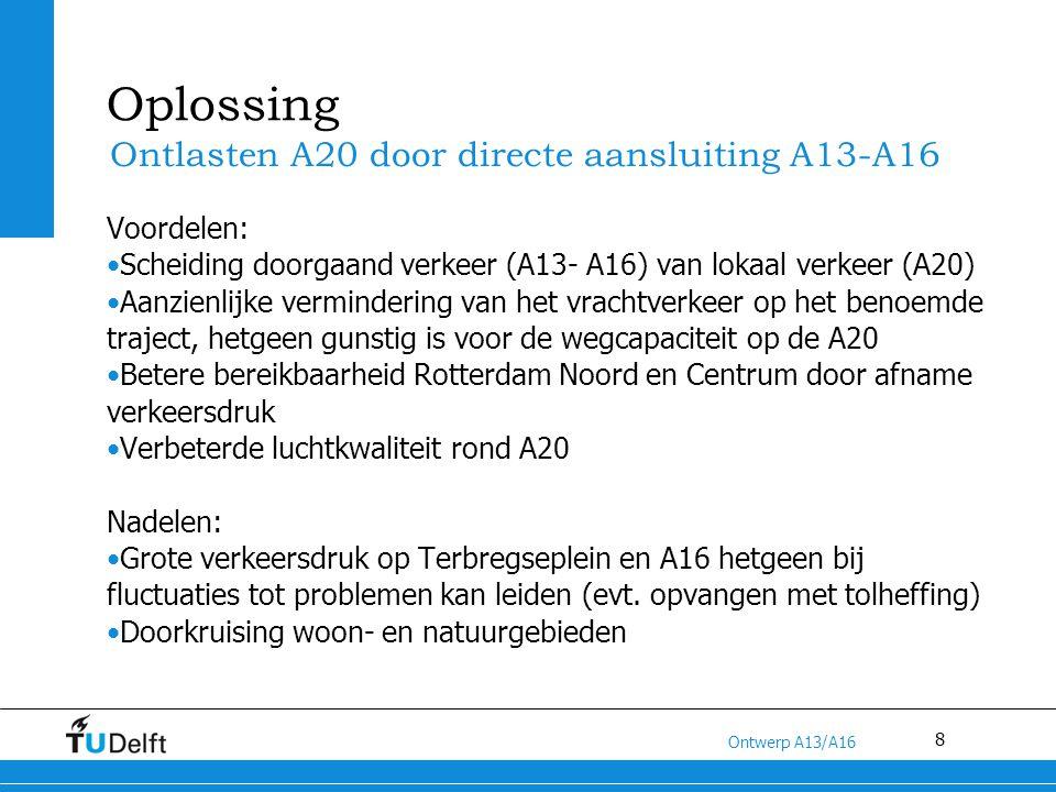 Oplossing Ontlasten A20 door directe aansluiting A13-A16 Voordelen: