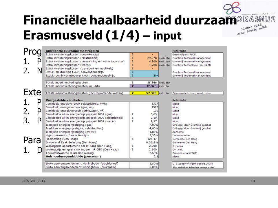Financiële haalbaarheid duurzaam Erasmusveld (1/4) – input