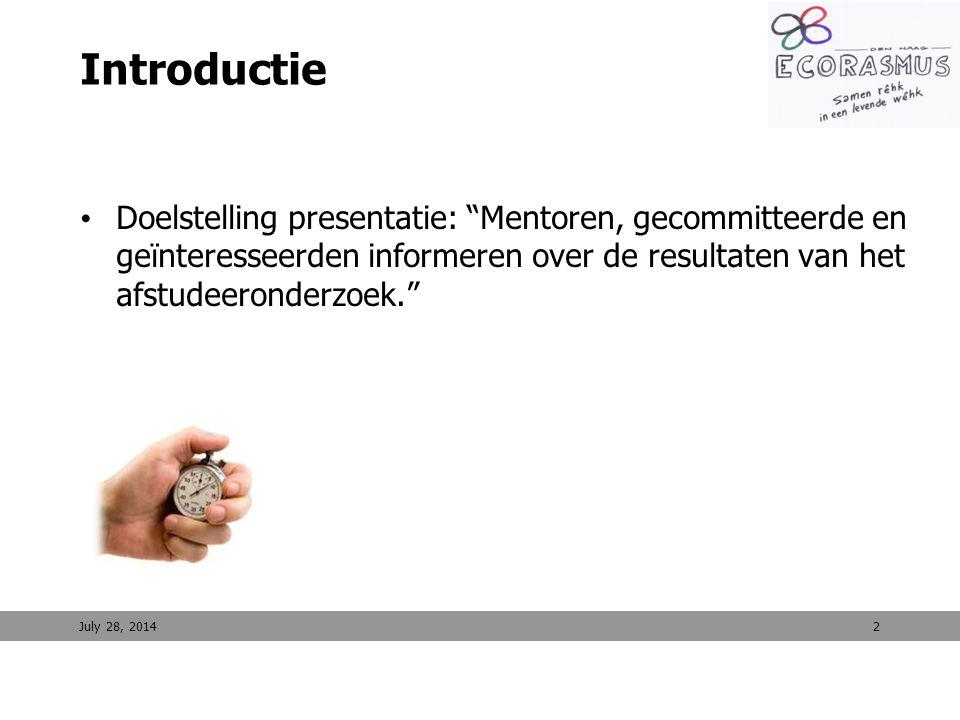Introductie Doelstelling presentatie: Mentoren, gecommitteerde en geïnteresseerden informeren over de resultaten van het afstudeeronderzoek.