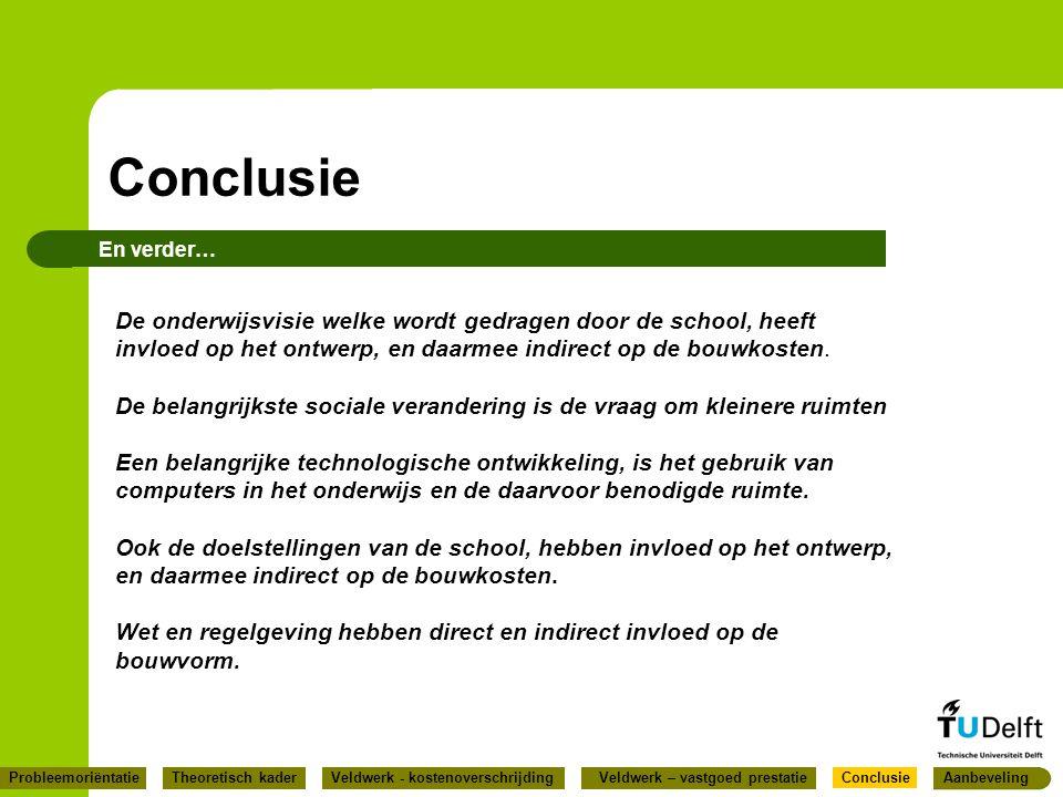 Conclusie En verder… De onderwijsvisie welke wordt gedragen door de school, heeft invloed op het ontwerp, en daarmee indirect op de bouwkosten.
