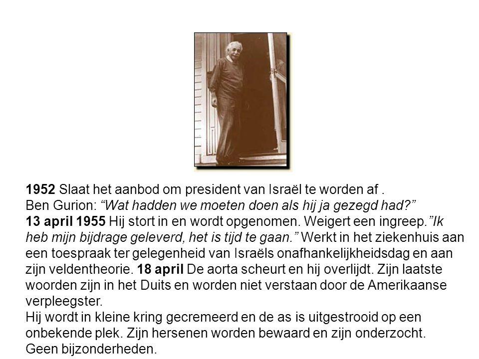 1952 Slaat het aanbod om president van Israël te worden af