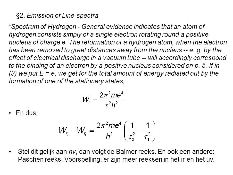 §2. Emission of Line-spectra