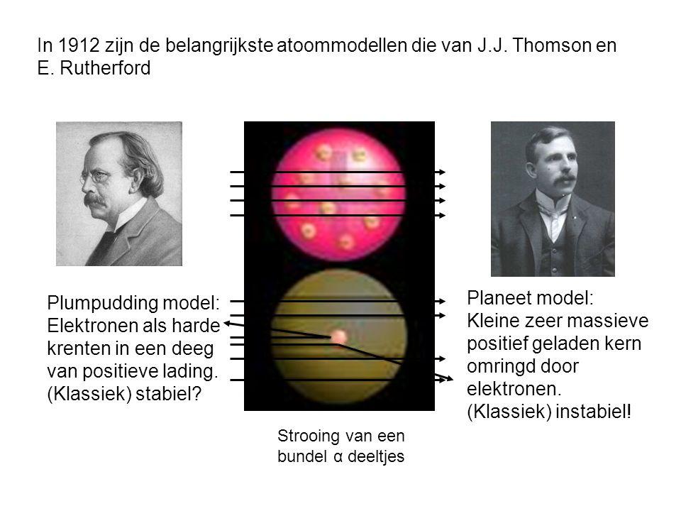 Kleine zeer massieve positief geladen kern omringd door elektronen.