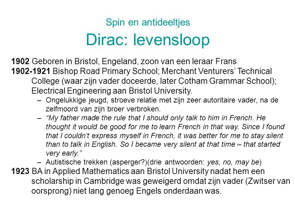 Spin en antideeltjes Dirac: levensloop