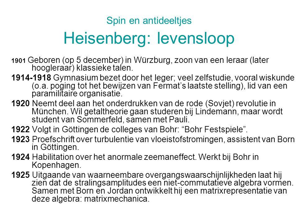 Spin en antideeltjes Heisenberg: levensloop