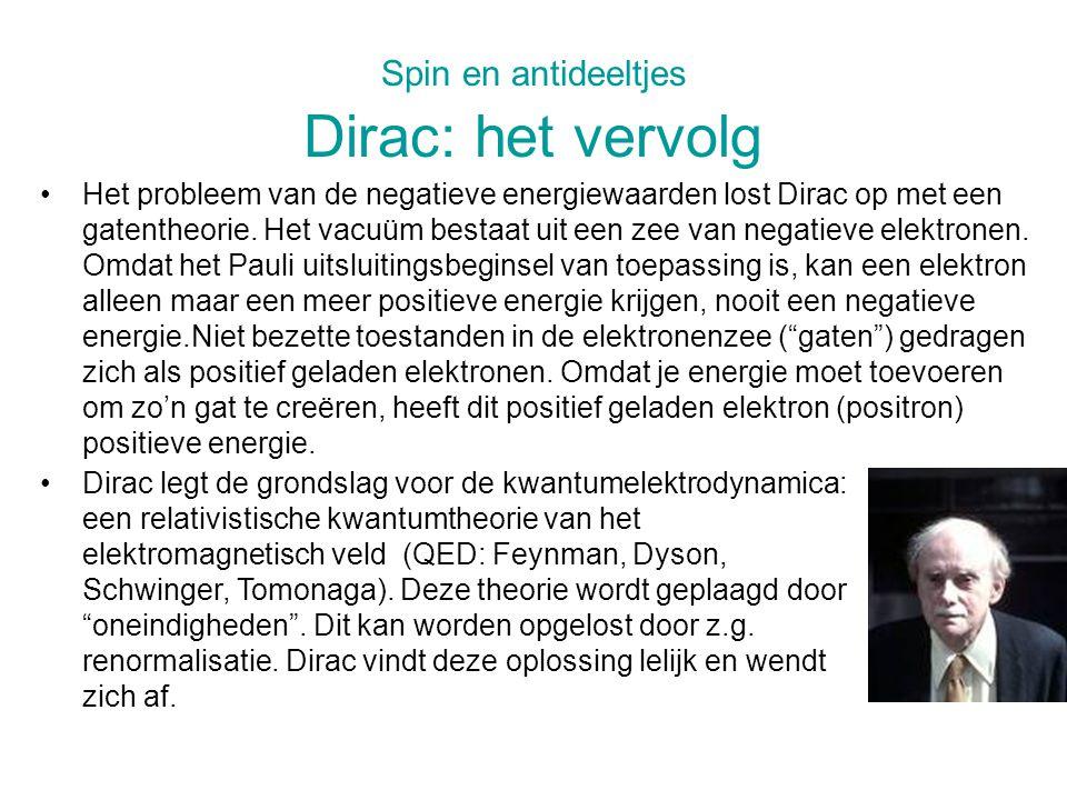 Spin en antideeltjes Dirac: het vervolg
