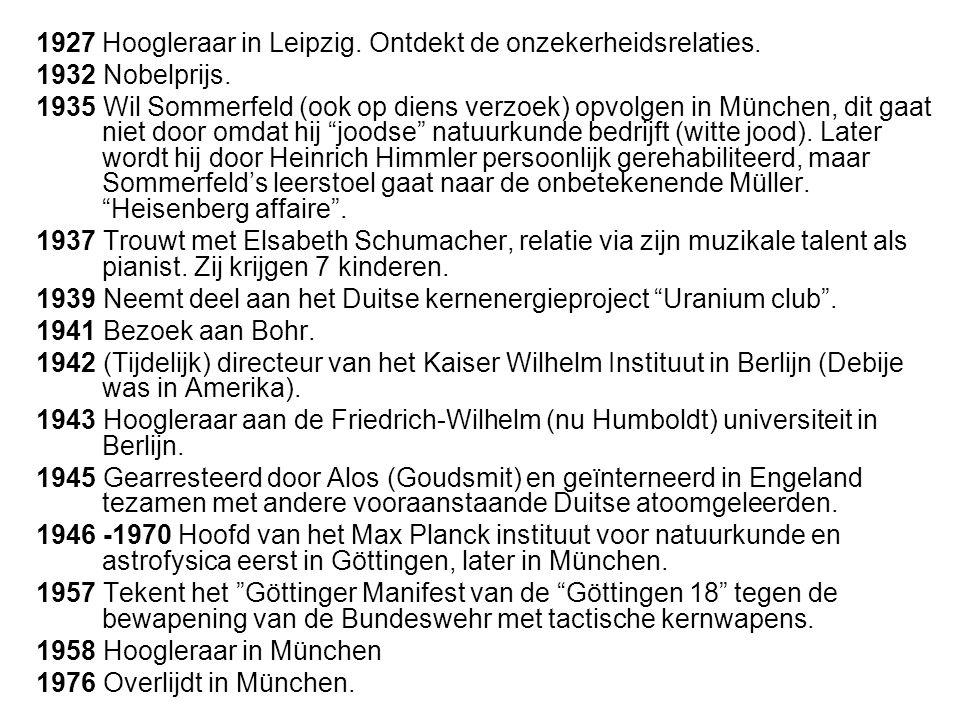 1927 Hoogleraar in Leipzig. Ontdekt de onzekerheidsrelaties.