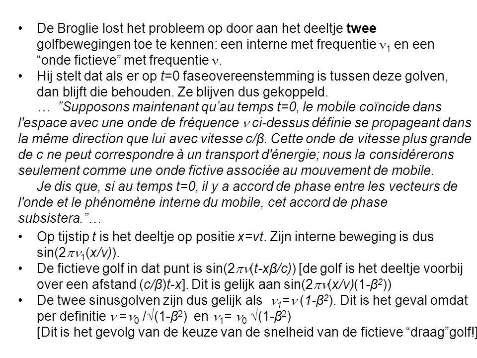 De Broglie lost het probleem op door aan het deeltje twee golfbewegingen toe te kennen: een interne met frequentie 1 en een onde fictieve met frequentie .