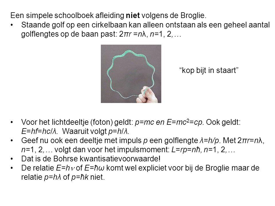 Een simpele schoolboek afleiding niet volgens de Broglie.