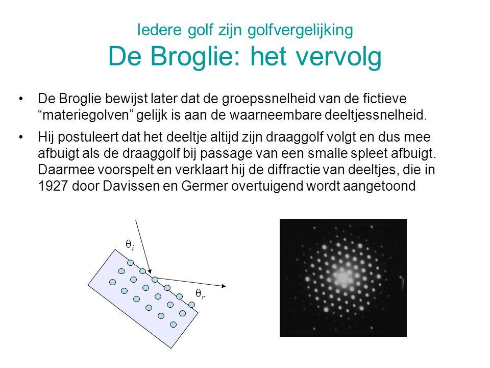 Iedere golf zijn golfvergelijking De Broglie: het vervolg