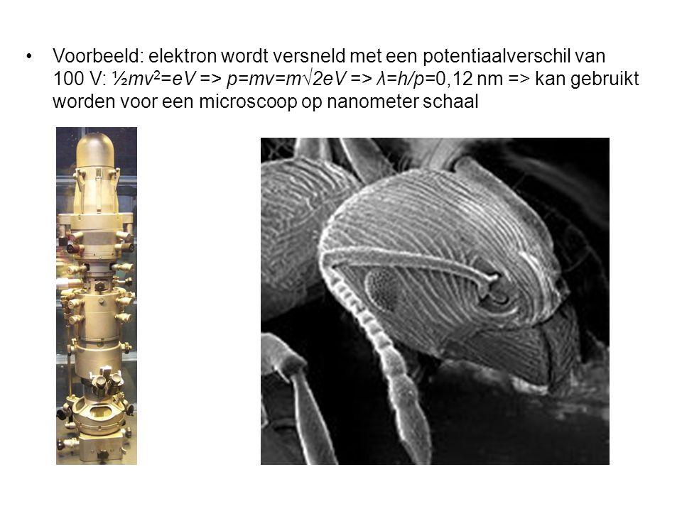 Voorbeeld: elektron wordt versneld met een potentiaalverschil van 100 V: ½mv2=eV => p=mv=m√2eV => λ=h/p=0,12 nm => kan gebruikt worden voor een microscoop op nanometer schaal