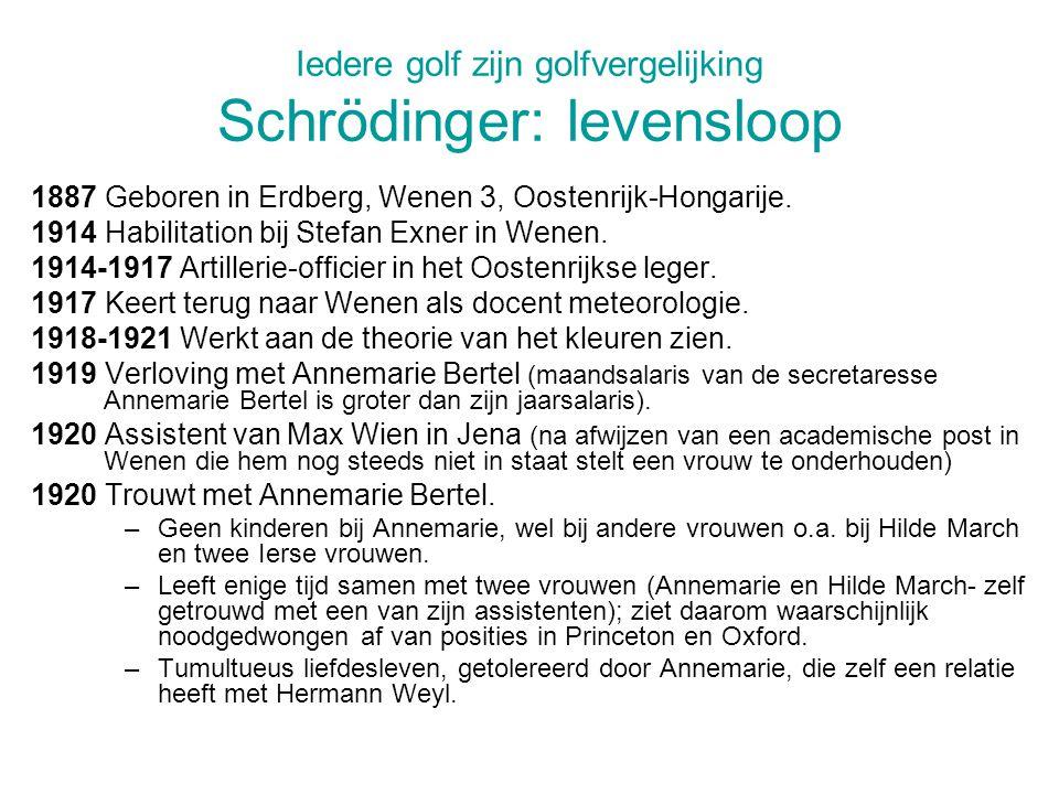 Iedere golf zijn golfvergelijking Schrödinger: levensloop