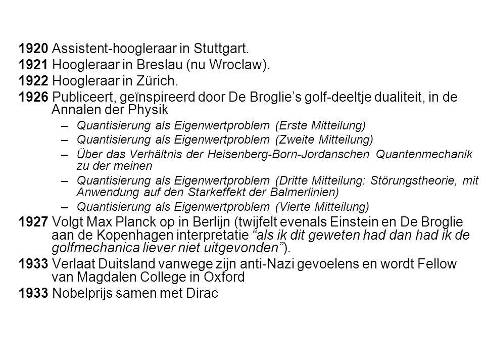 1920 Assistent-hoogleraar in Stuttgart.