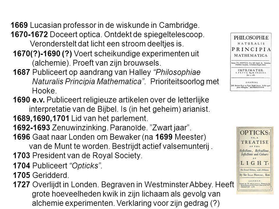 1669 Lucasian professor in de wiskunde in Cambridge.