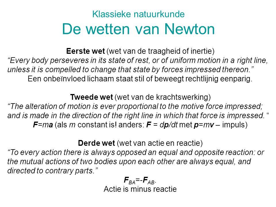 Klassieke natuurkunde De wetten van Newton