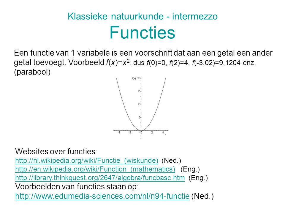 Klassieke natuurkunde - intermezzo Functies