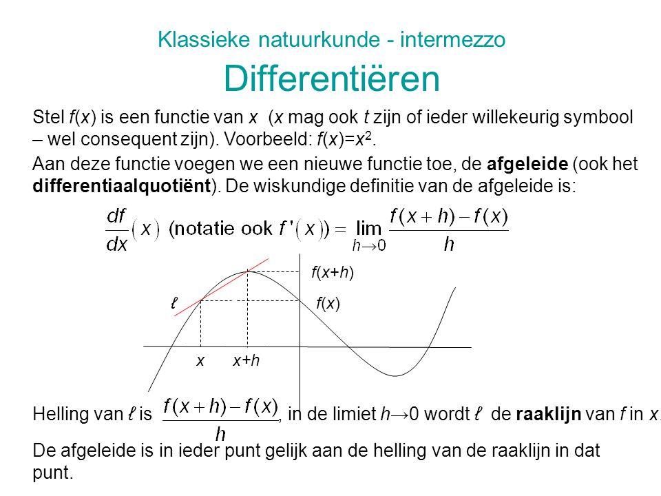 Klassieke natuurkunde - intermezzo Differentiëren