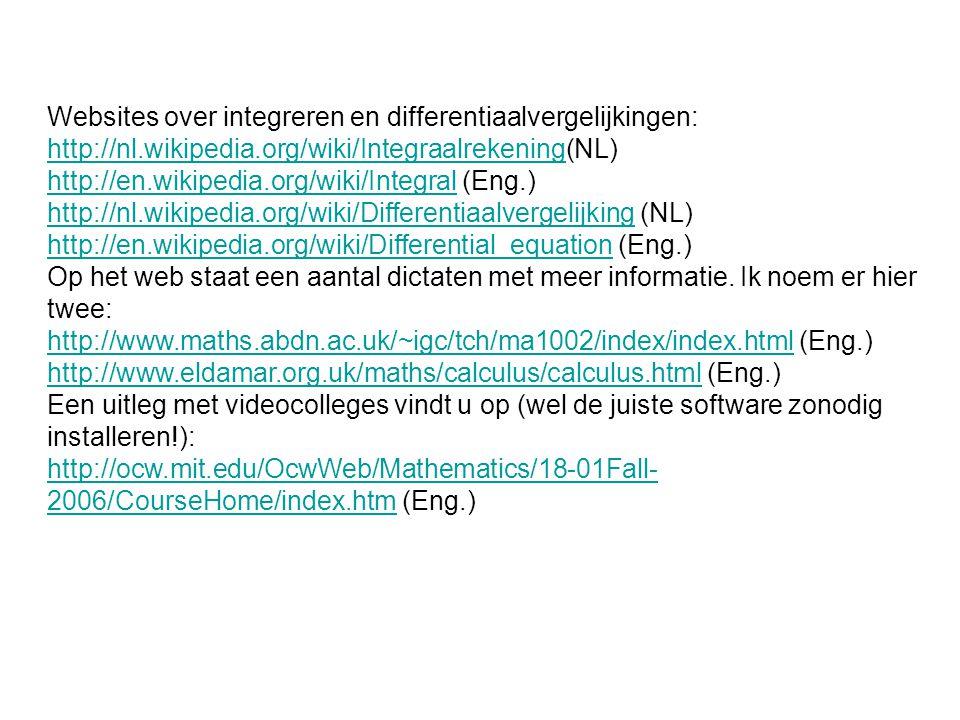 Websites over integreren en differentiaalvergelijkingen: