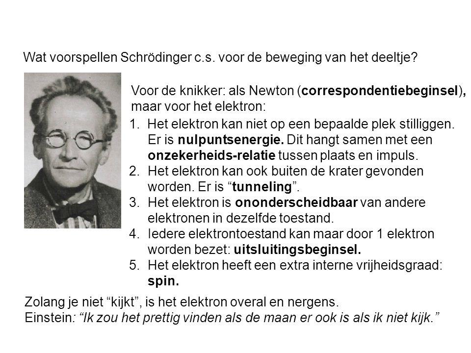Wat voorspellen Schrödinger c.s. voor de beweging van het deeltje