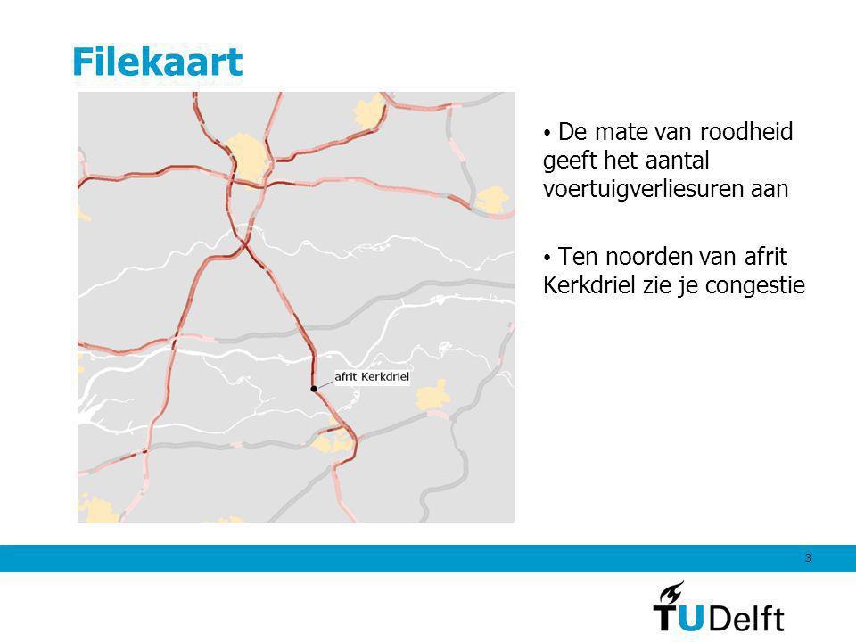 Filekaart De mate van roodheid geeft het aantal voertuigverliesuren aan.