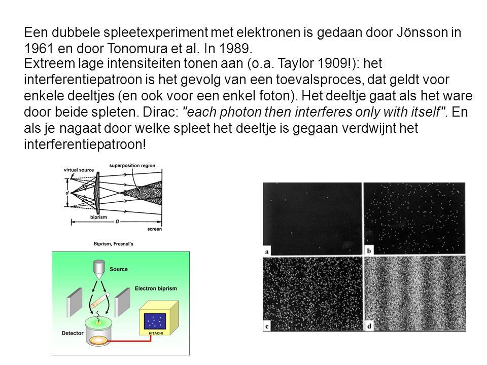 Een dubbele spleetexperiment met elektronen is gedaan door Jönsson in 1961 en door Tonomura et al. In 1989.