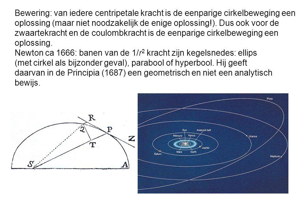 Bewering: van iedere centripetale kracht is de eenparige cirkelbeweging een oplossing (maar niet noodzakelijk de enige oplossing!). Dus ook voor de zwaartekracht en de coulombkracht is de eenparige cirkelbeweging een oplossing.