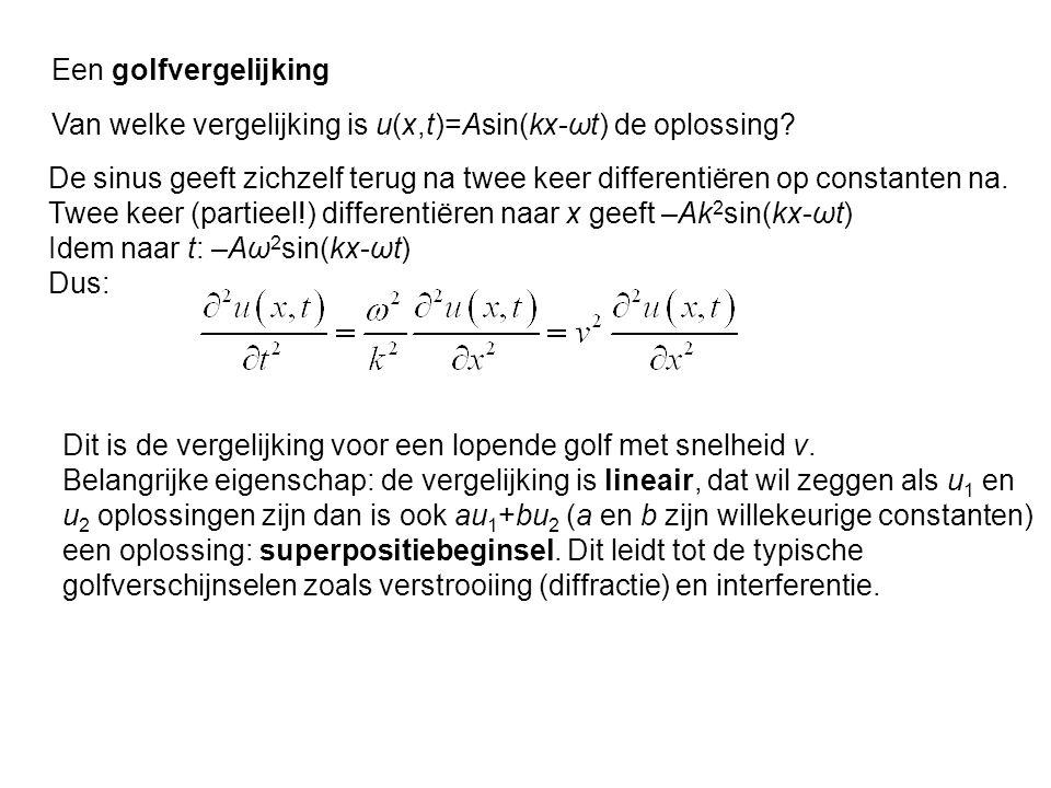 Een golfvergelijking Van welke vergelijking is u(x,t)=Asin(kx-ωt) de oplossing