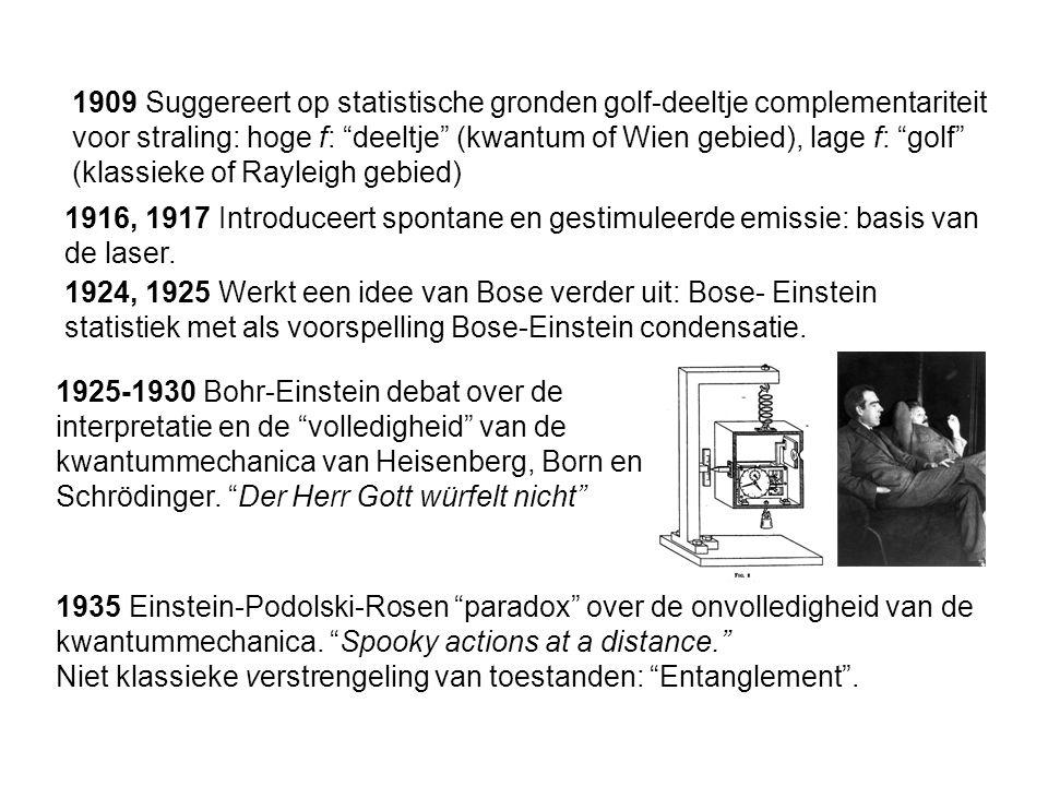 1909 Suggereert op statistische gronden golf-deeltje complementariteit voor straling: hoge f: deeltje (kwantum of Wien gebied), lage f: golf (klassieke of Rayleigh gebied)