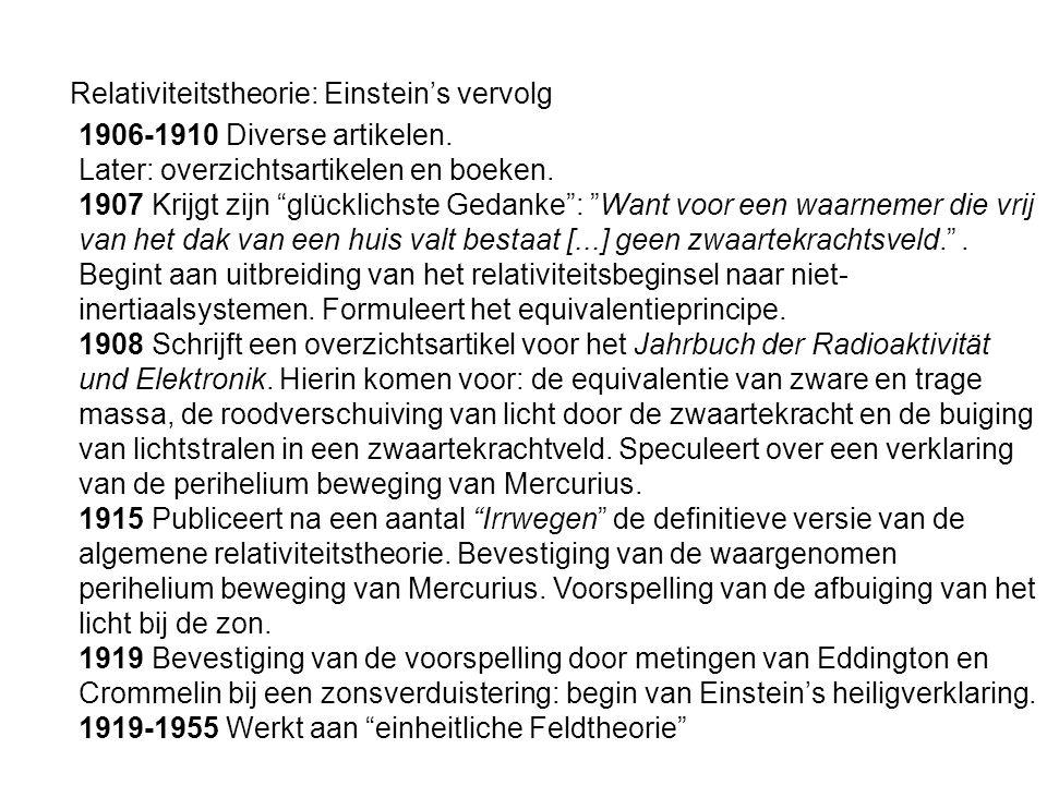 Relativiteitstheorie: Einstein's vervolg