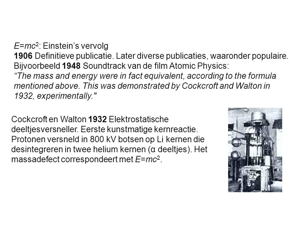 E=mc2: Einstein's vervolg